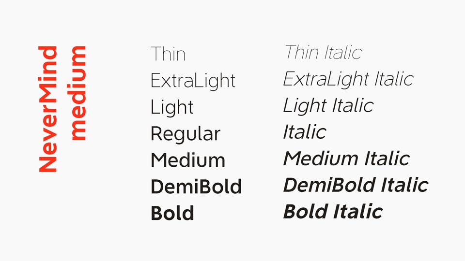 nevermind typeface
