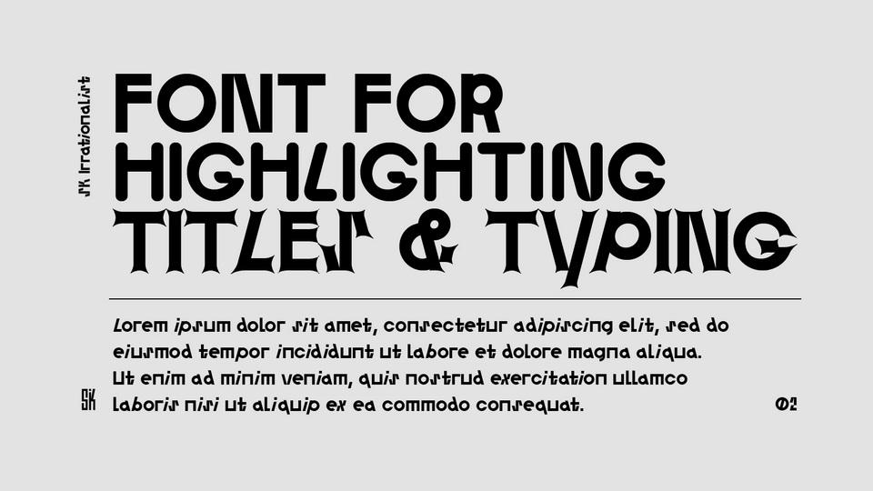 sk irrationalist typeface